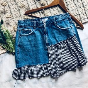 Zara Gingham Denim Skirt (M)